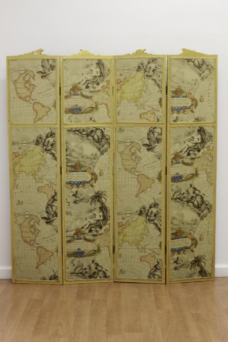 Old French 4 Panel Screen, Silk, Wood & Etchings - 3