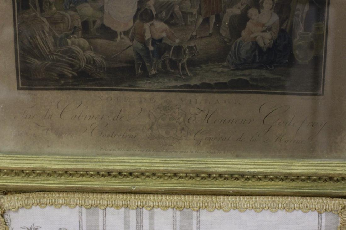 Old French 4 Panel Screen, Silk, Wood & Etchings - 8