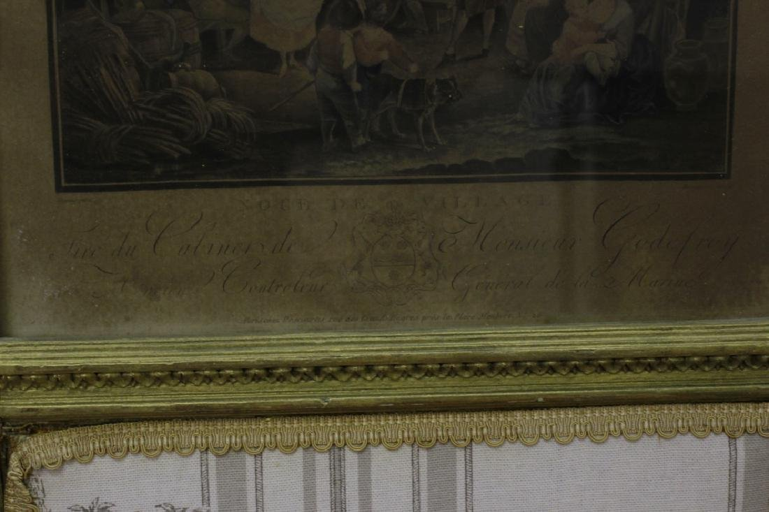 Old French 4 Panel Screen, Silk, Wood & Etchings - 9