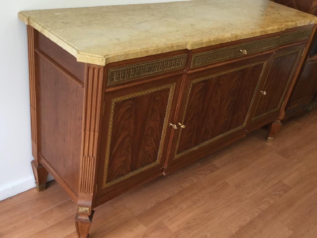 Art Deco Large Buffet Table With Marble Top - 7