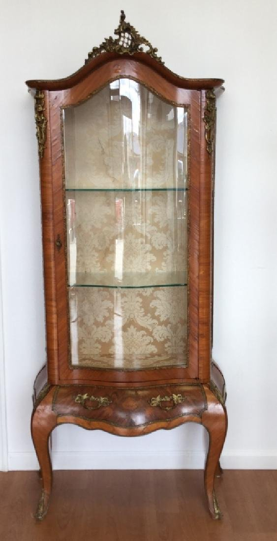 Louis XV Style Cabinet With Glass, Drawer & Metal