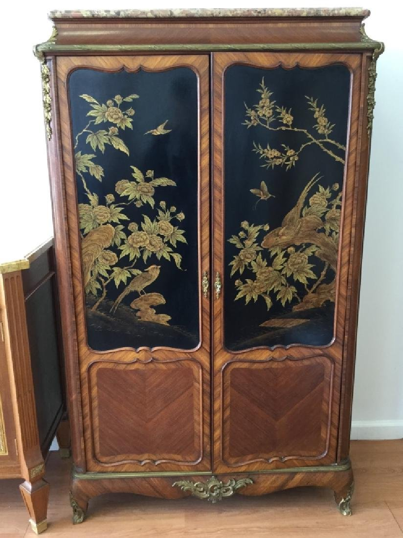 Unusual Chinoiserie Cabinet With Marble Top - 15