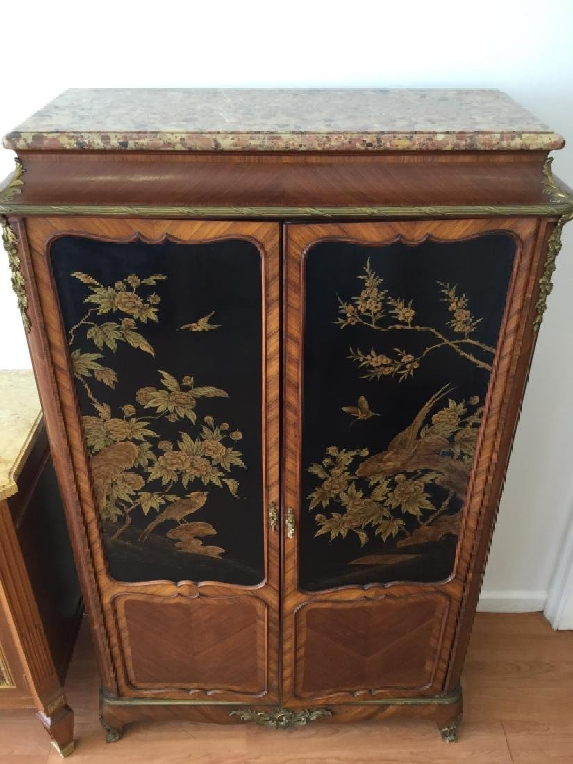 Unusual Chinoiserie Cabinet With Marble Top - 16