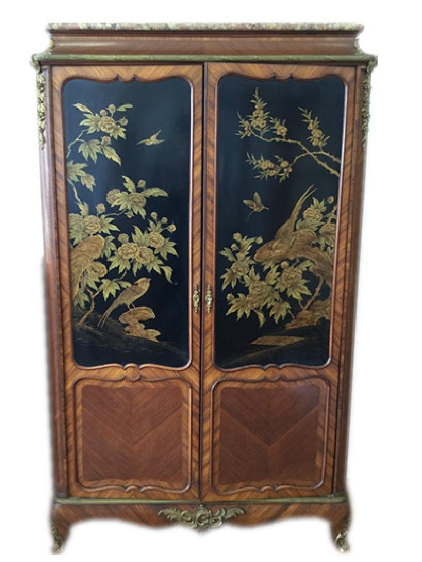 Unusual Chinoiserie Cabinet With Marble Top