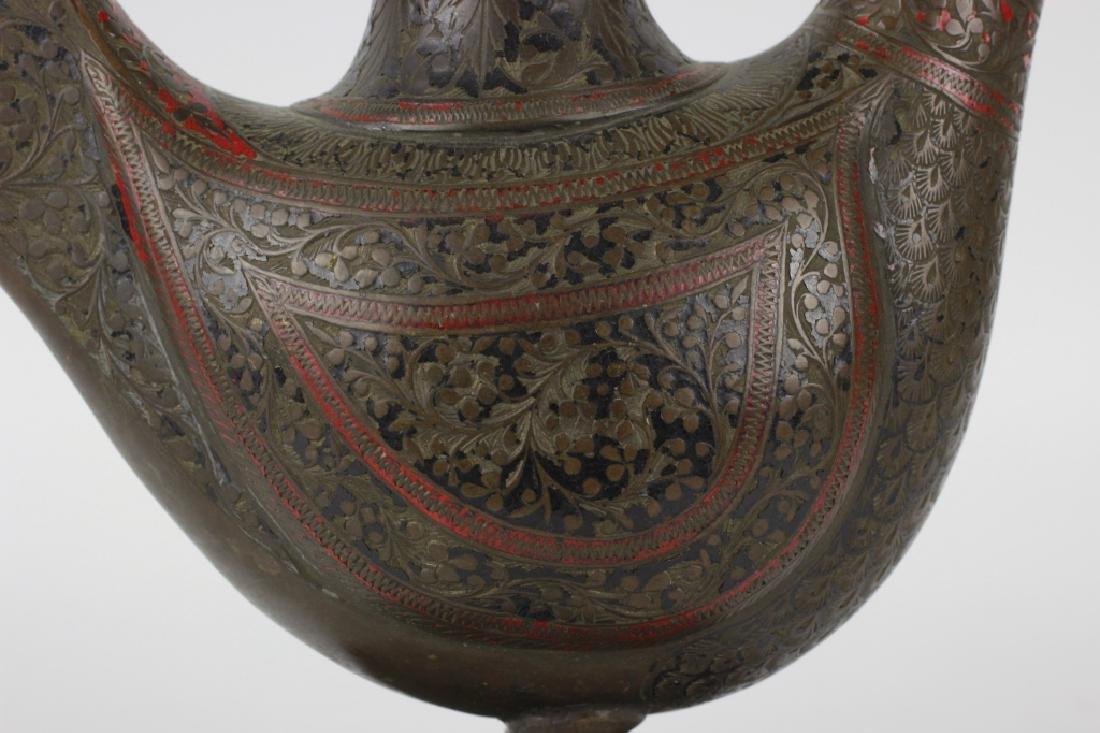 Early Middle Eastern Brass & Enamel Teapot - 4