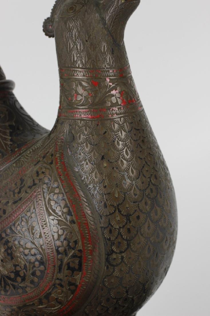 Early Middle Eastern Brass & Enamel Teapot - 8