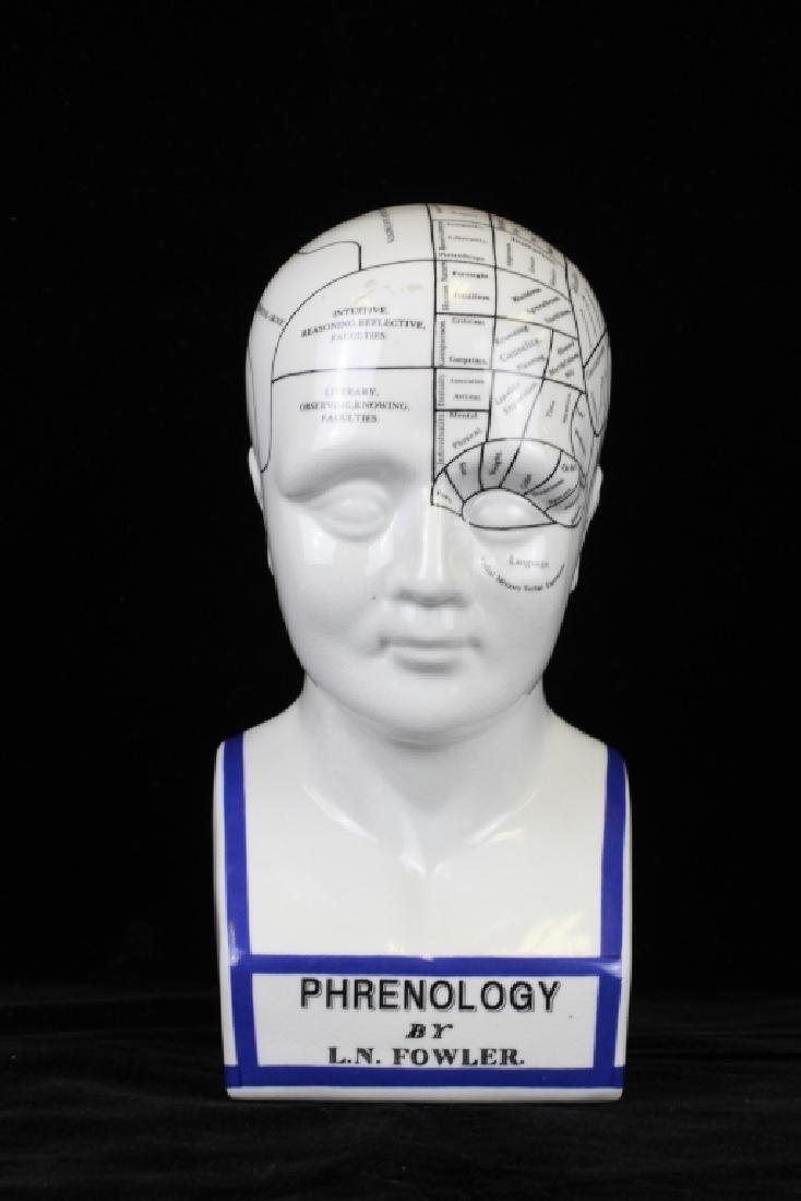 Phrenology Porcelain Head Figure By L.N. Fowler
