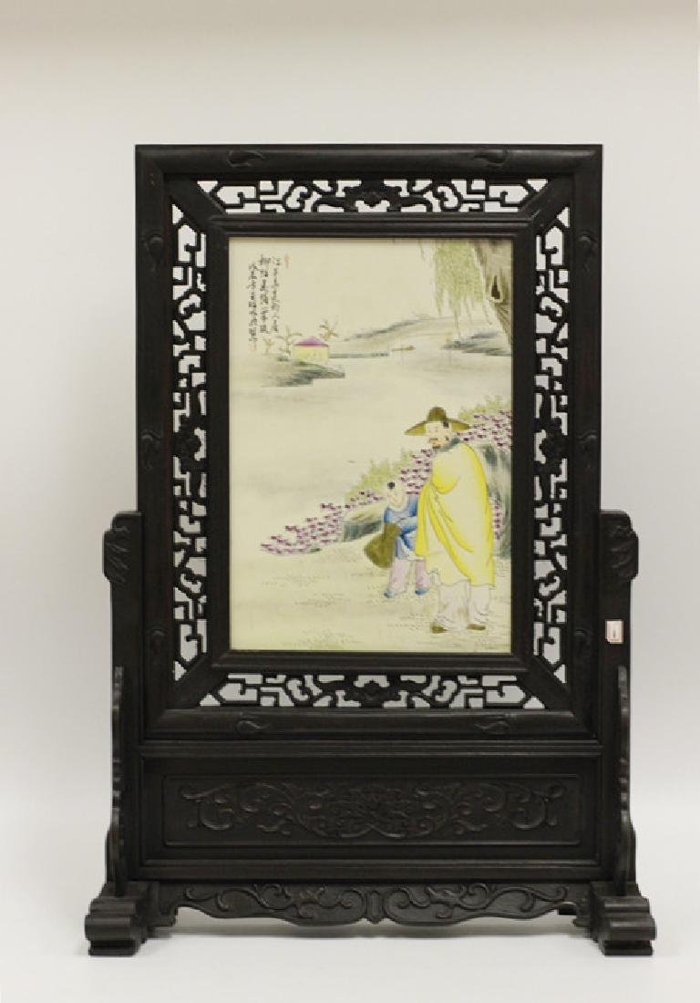 Chinese Wood Table Screen w Porcelain Plaque