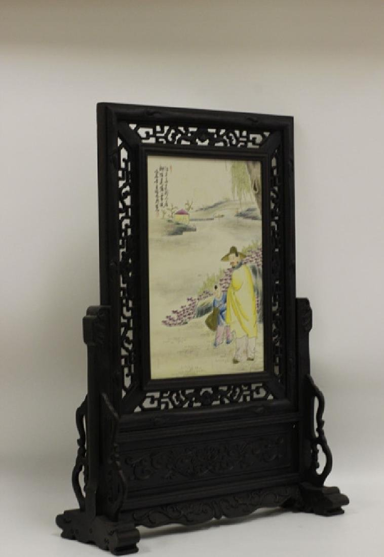 Chinese Wood Table Screen w Porcelain Plaque - 6