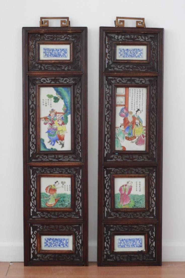 Pair Of Chinese Porcelain Plaques In Carved Wood