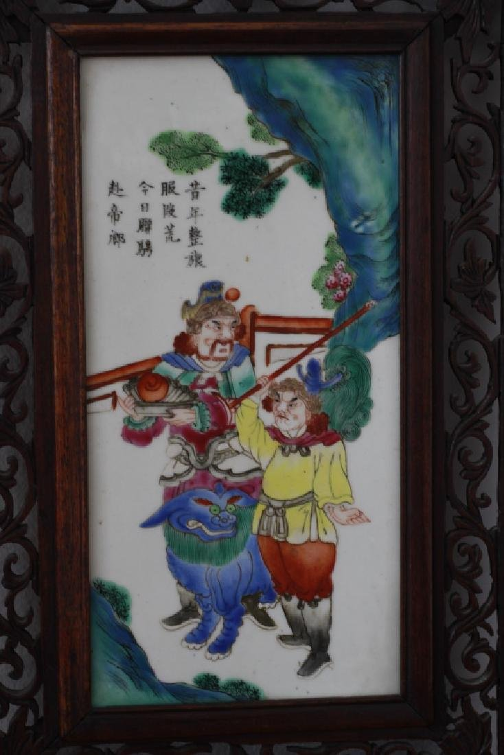 Pair Of Chinese Porcelain Plaques In Carved Wood - 3
