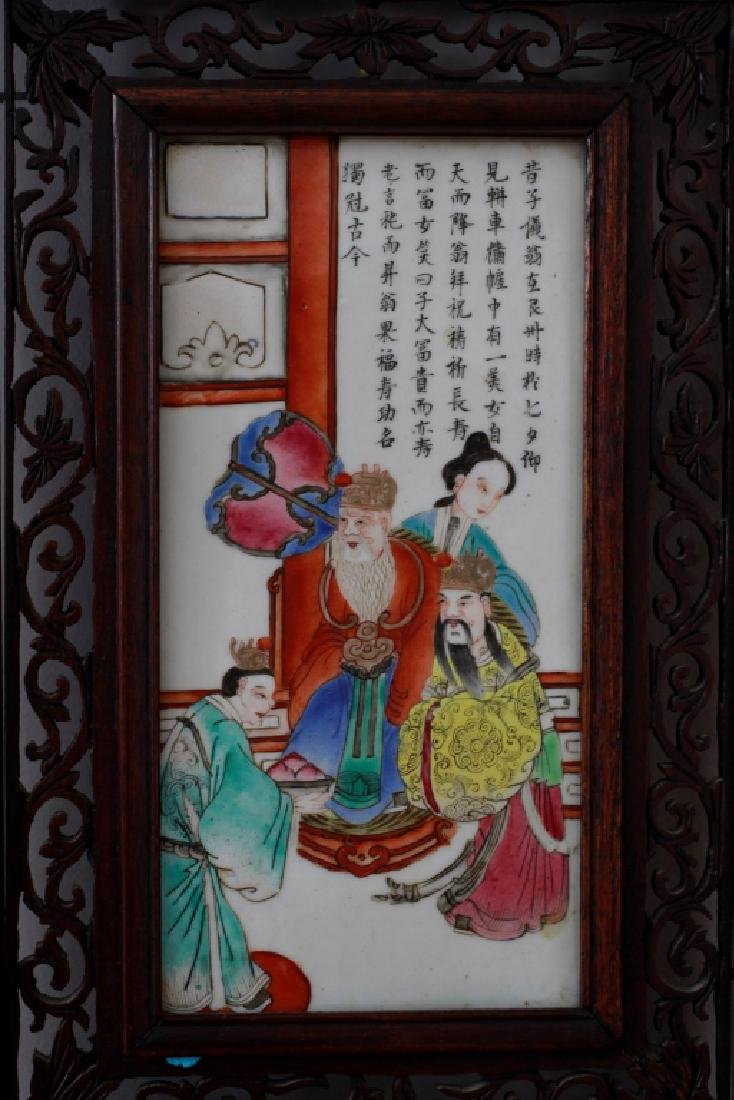 Pair Of Chinese Porcelain Plaques In Carved Wood - 4