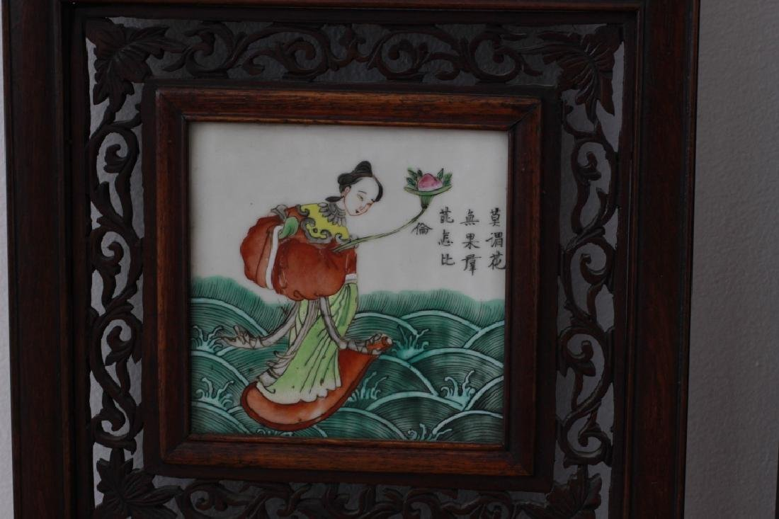 Pair Of Chinese Porcelain Plaques In Carved Wood - 6