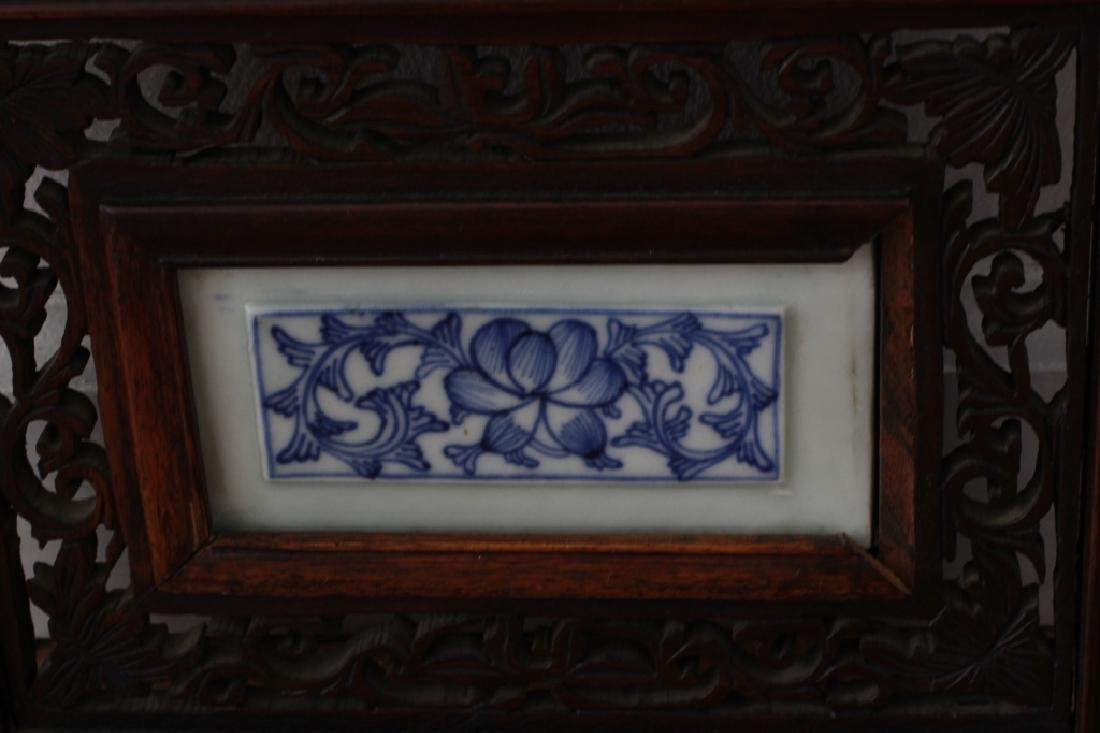 Pair Of Chinese Porcelain Plaques In Carved Wood - 7