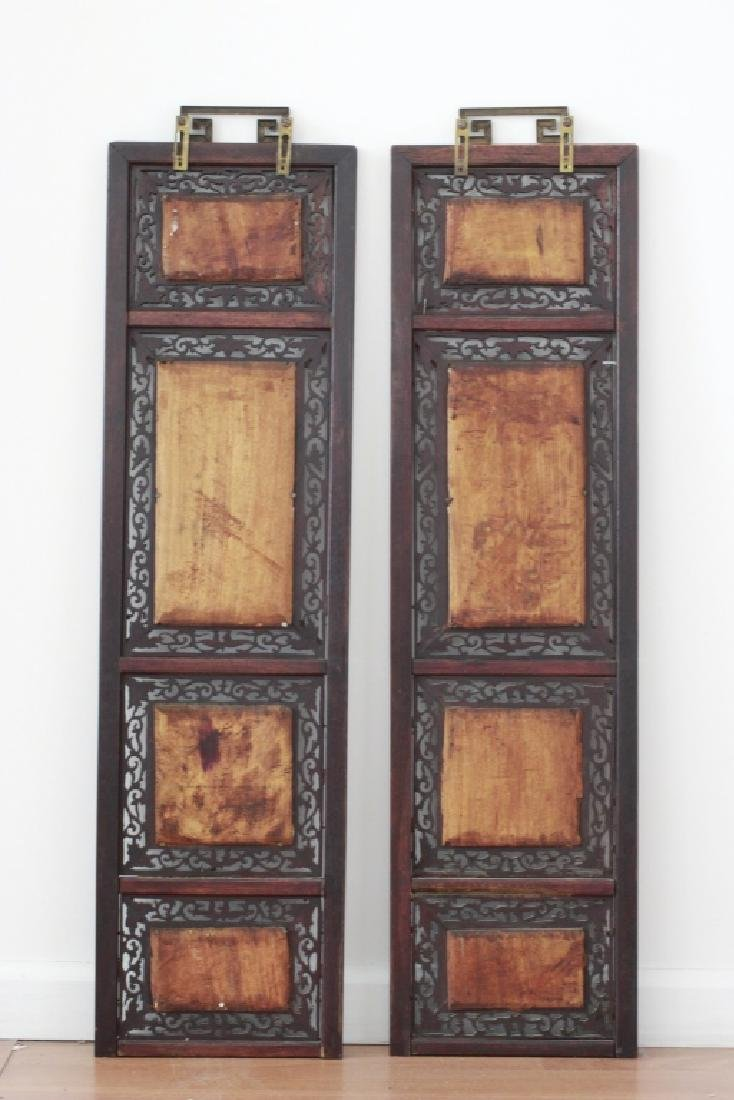 Pair Of Chinese Porcelain Plaques In Carved Wood - 9