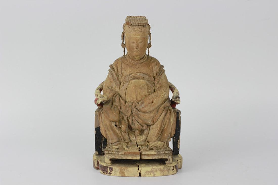 Very Early Carved Wood Chinese  Figure