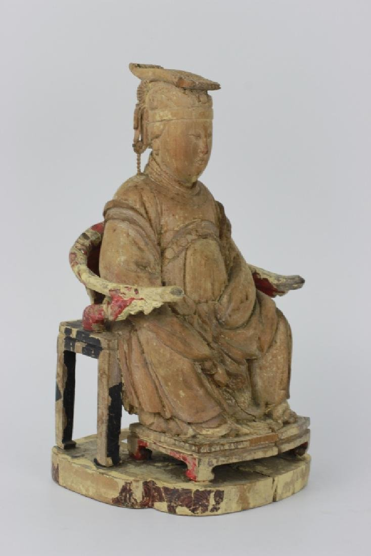 Very Early Carved Wood Chinese  Figure - 4