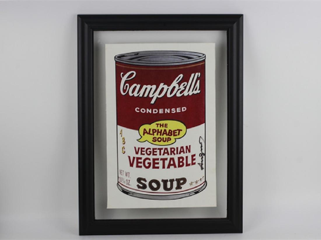 Campbell Soup Silkscreen Print, Signed Andy Warhol
