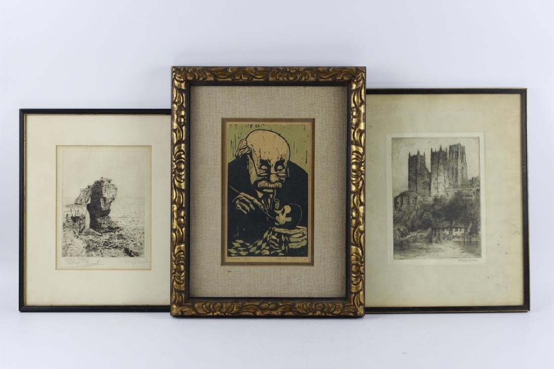 2 Early Signed Etchings & 1 Print