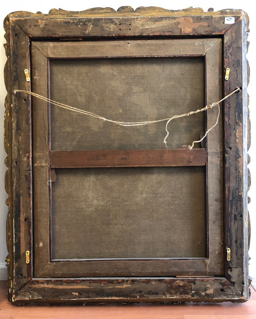 O/C 19C Large Painting w/ Fantastic Carved Frame - 4