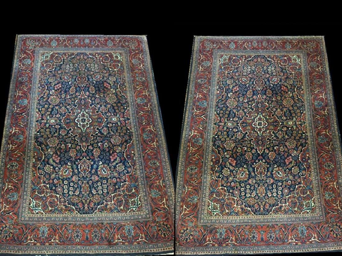 Pair of Semi- Antique Kashan Persian Rugs