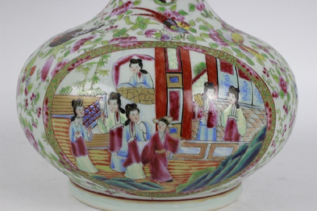 Chinese Rose Medallion Porcelain Vase - 3
