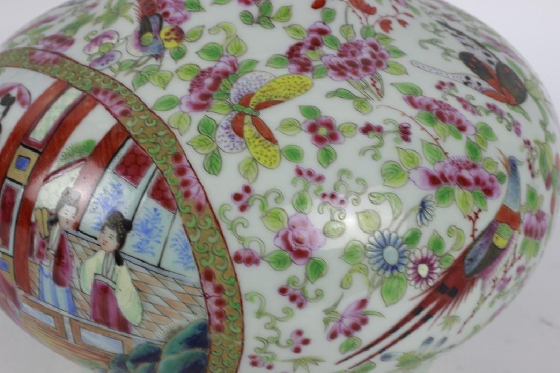 Chinese Rose Medallion Porcelain Vase - 4