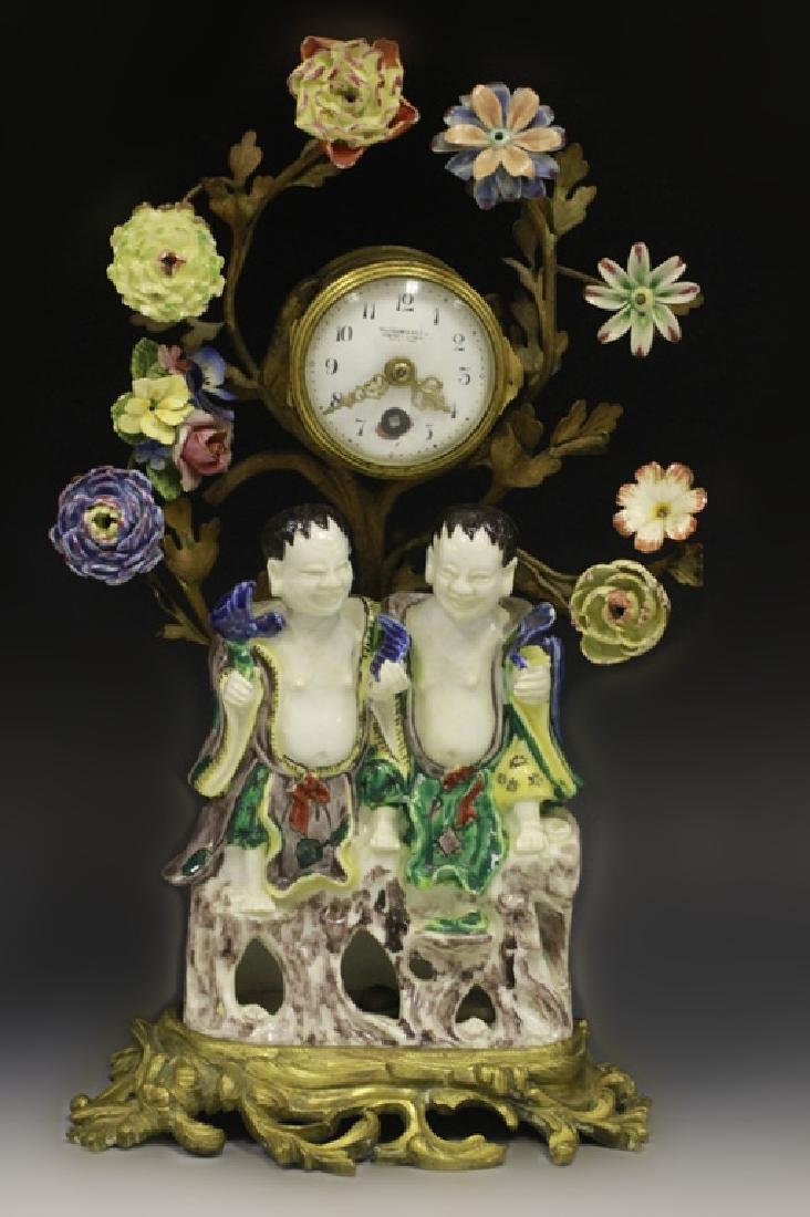 19thc Chinese Porcelain Clock w/ French Bronze