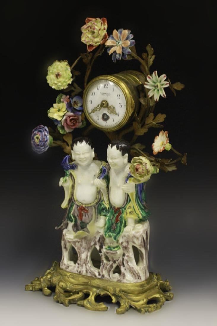 19thc Chinese Porcelain Clock w/ French Bronze - 3