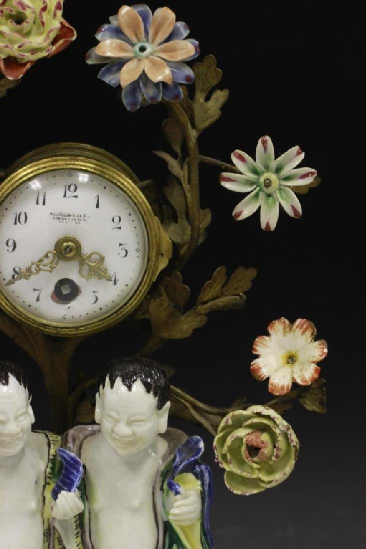 19thc Chinese Porcelain Clock w/ French Bronze - 7