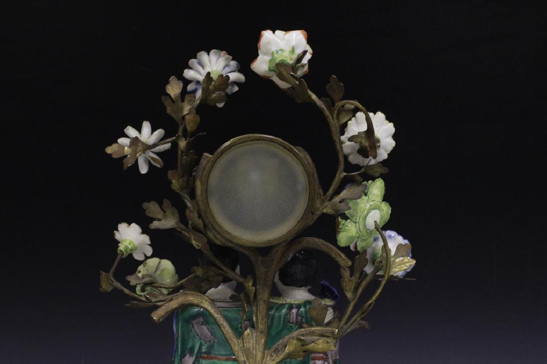 19thc Chinese Porcelain Clock w/ French Bronze - 9