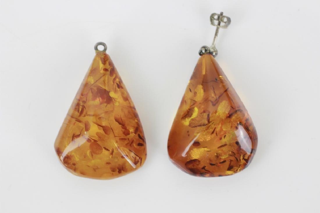Pair of Amber Earrings w/ Silver Mounts
