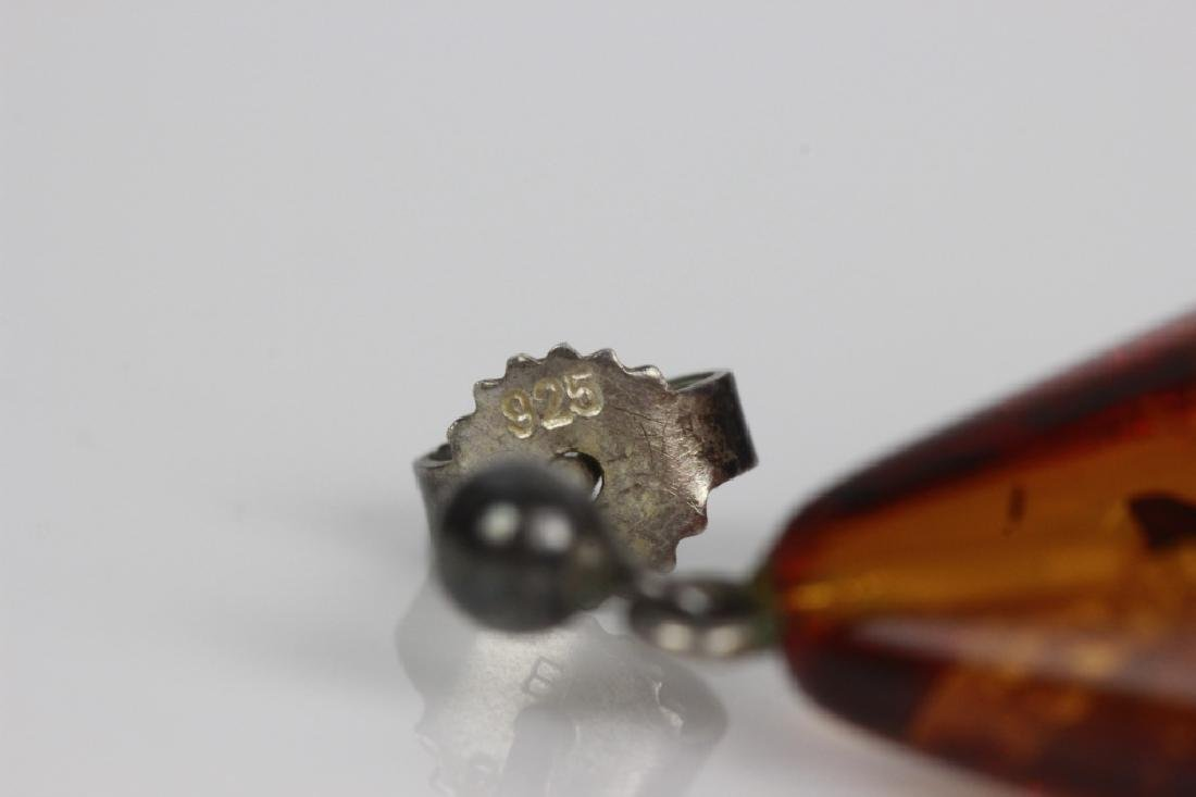 Pair of Amber Earrings w/ Silver Mounts - 5