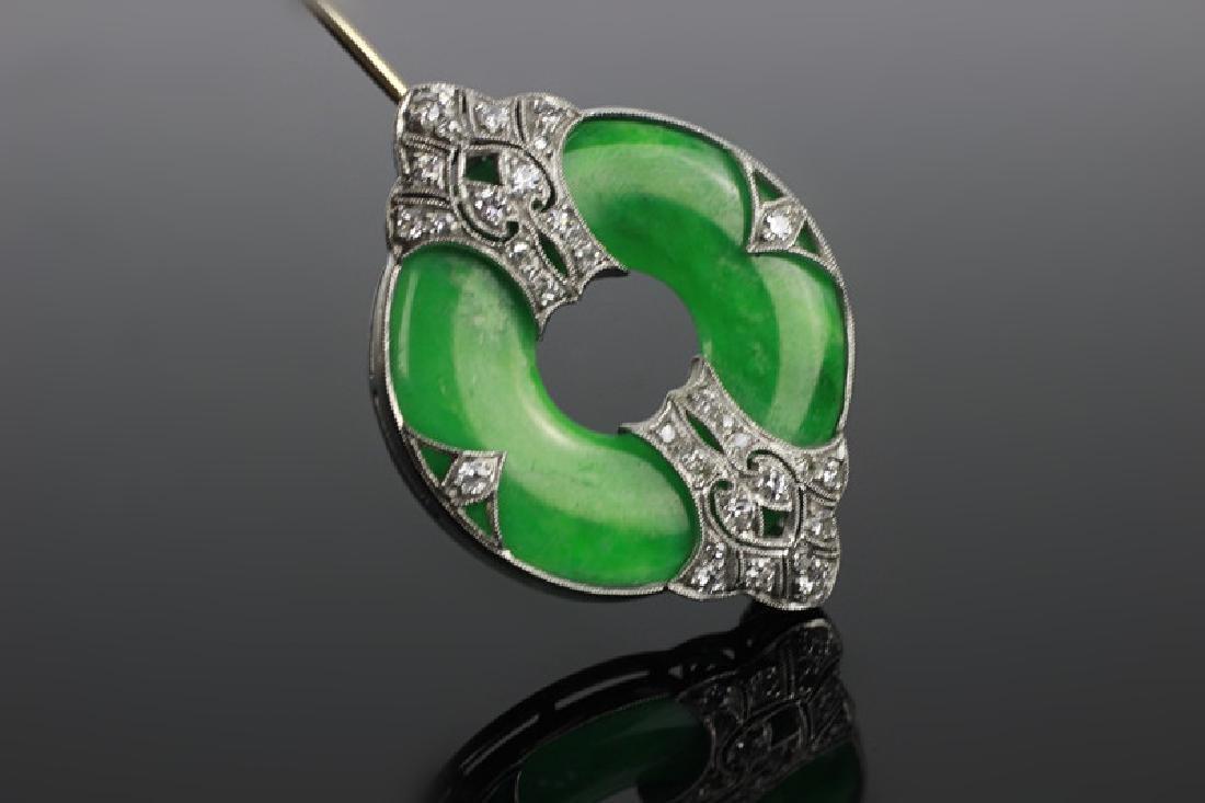 Art Deco 18k White Gold Jadeite & Diamond Brooch - 2