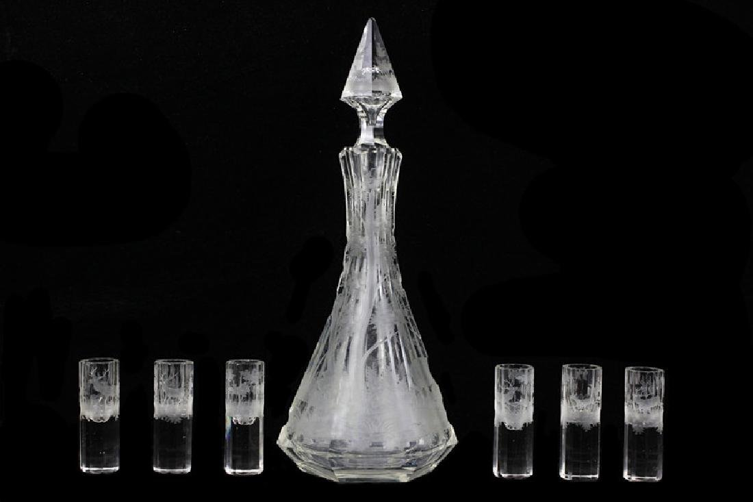 Set of Bohemian Carved Glass Decanter & 6 Shots