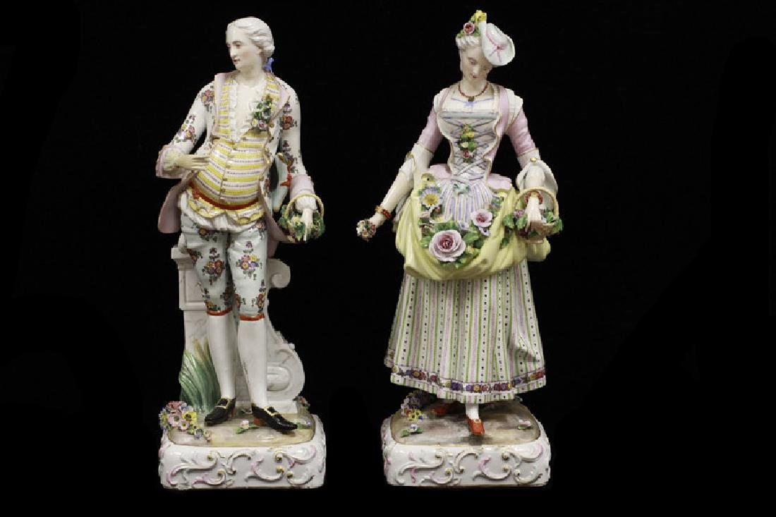 Pair of Early 20thc Large Signed Porcelain Figures