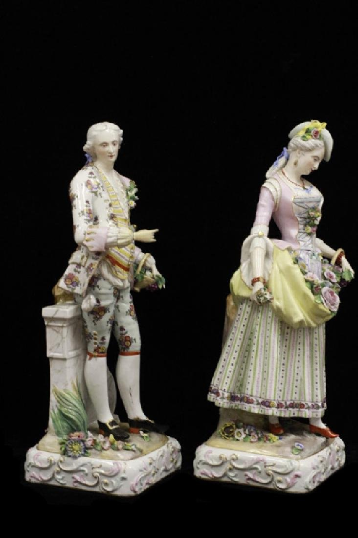 Pair of Early 20thc Large Signed Porcelain Figures - 2