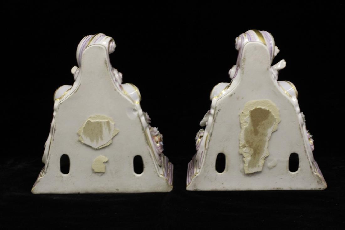 Pair of Early 20thc Figural Porcelain Shelves - 10