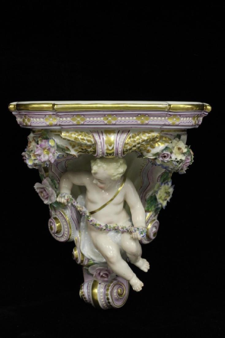 Pair of Early 20thc Figural Porcelain Shelves - 2