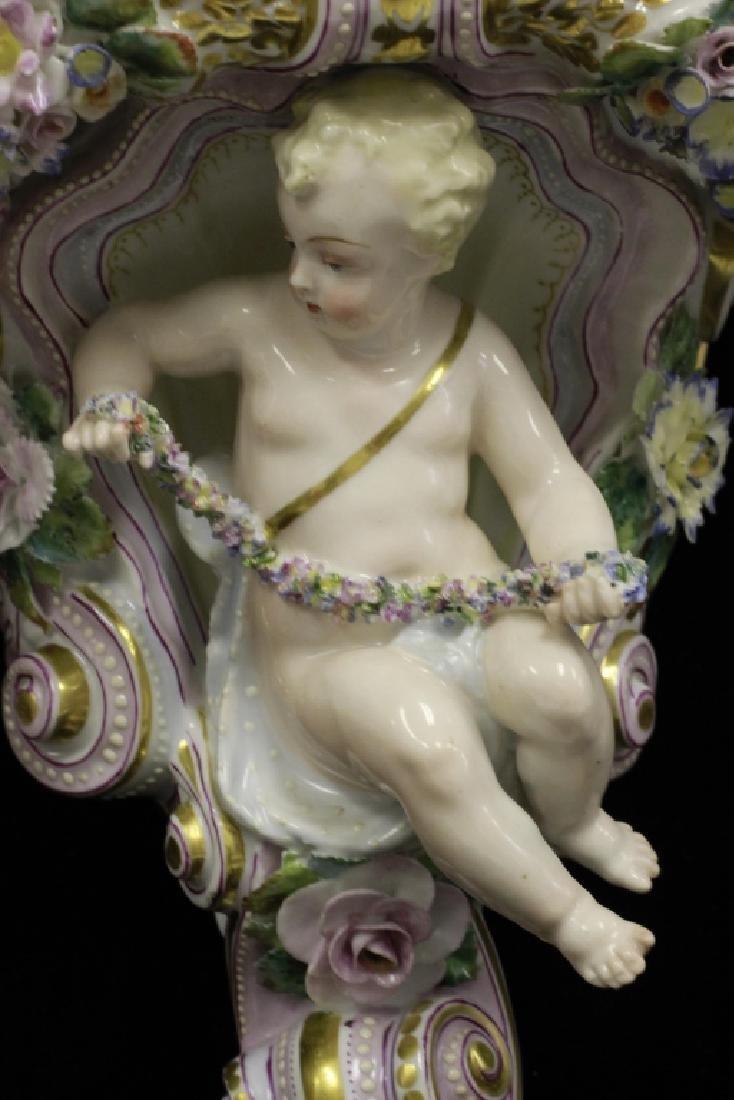 Pair of Early 20thc Figural Porcelain Shelves - 5