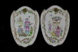 Pair of Chinoiserie Porcelain Wall Plaques