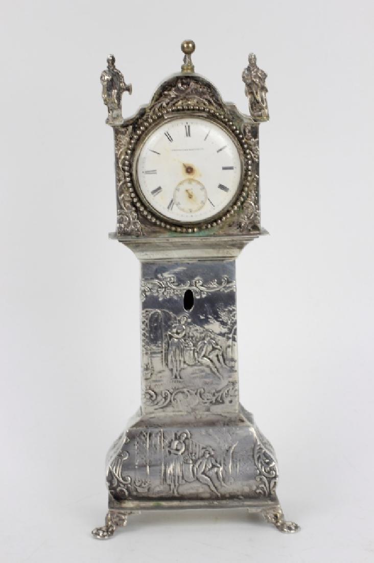 Continental Silver Miniature Grandfathers Clock