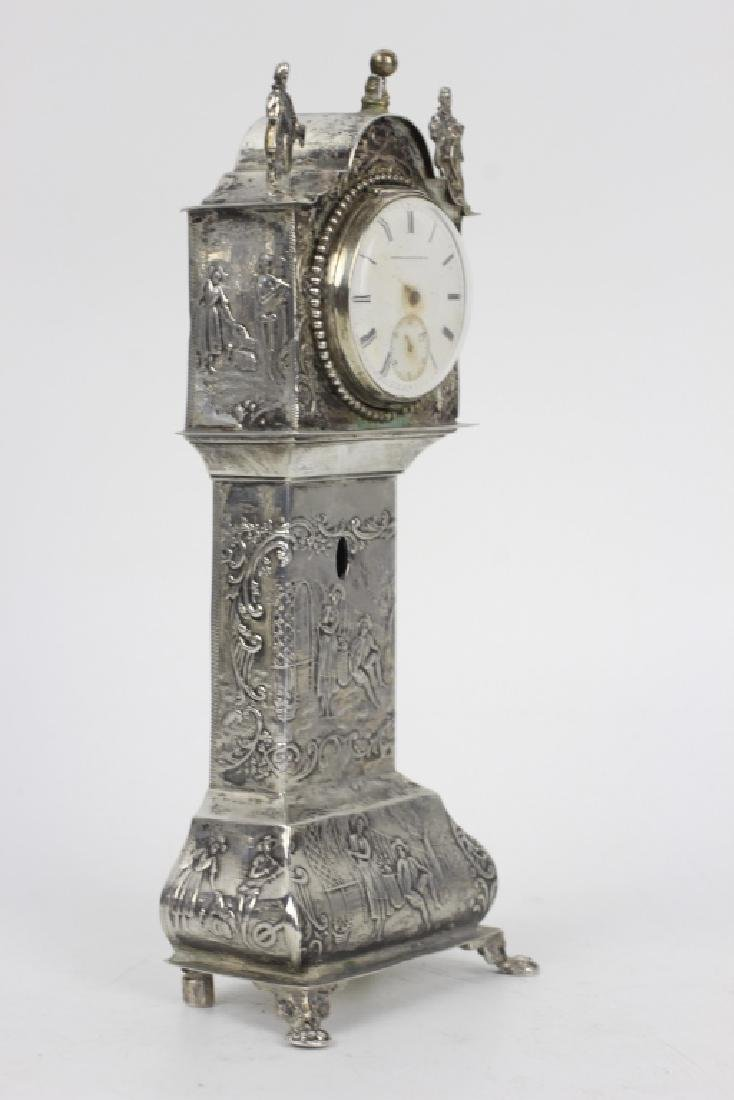 Continental Silver Miniature Grandfathers Clock - 2