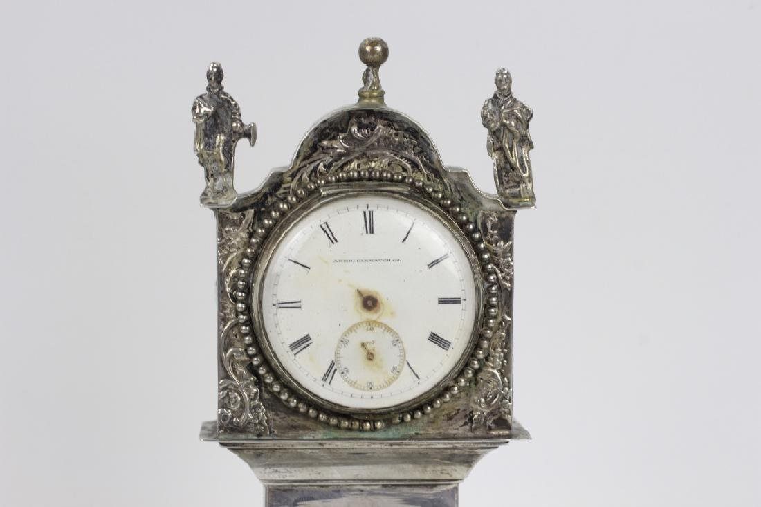 Continental Silver Miniature Grandfathers Clock - 3