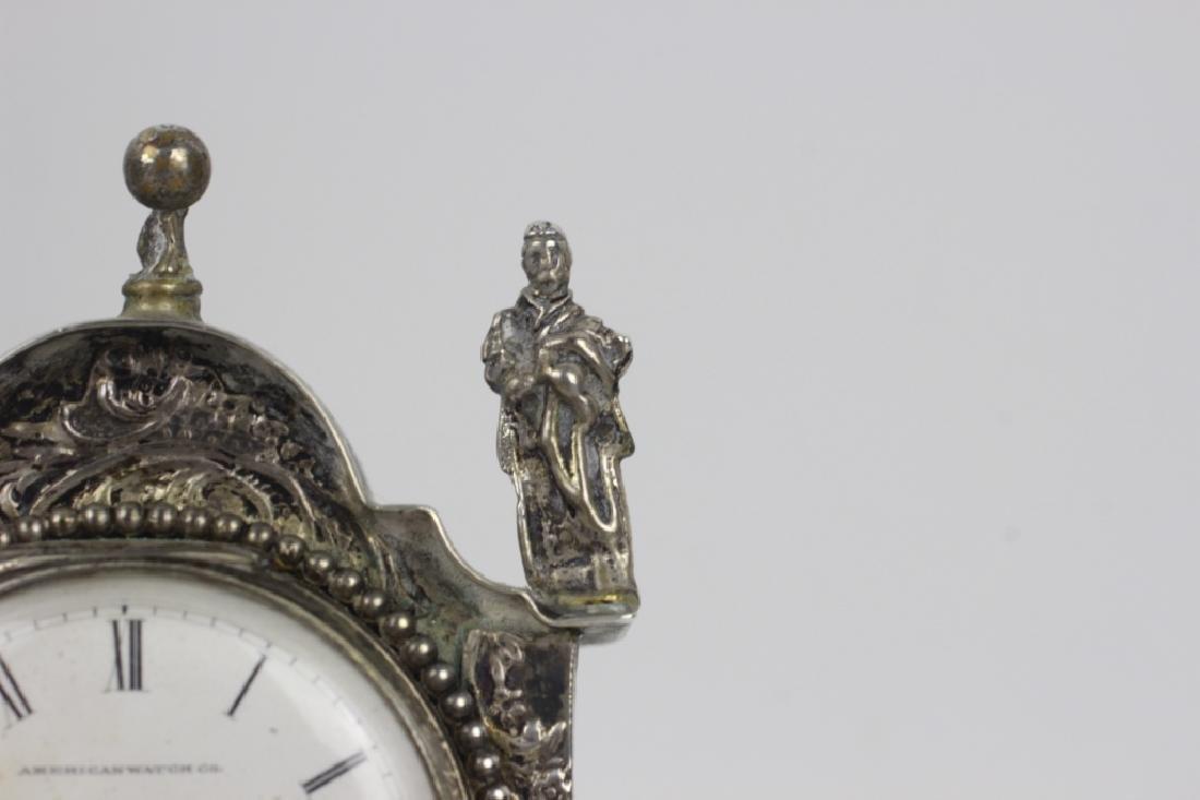 Continental Silver Miniature Grandfathers Clock - 6