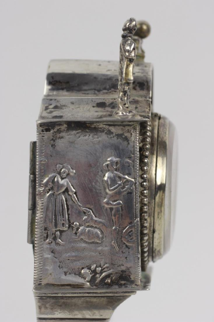 Continental Silver Miniature Grandfathers Clock - 7