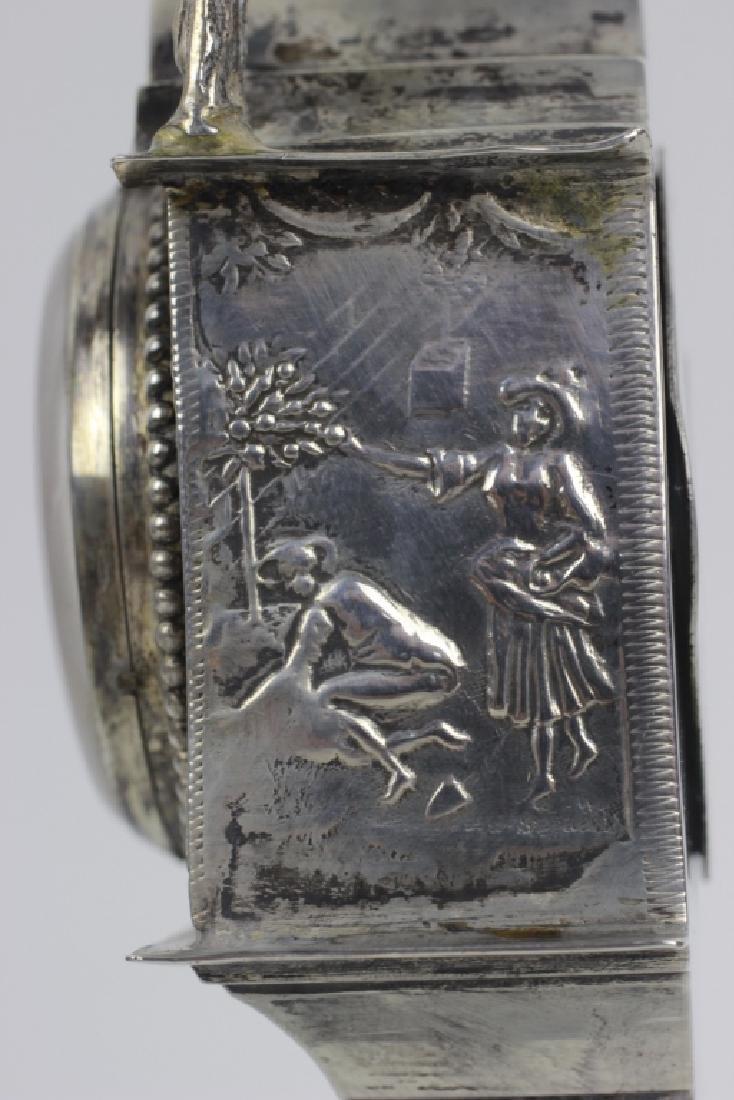 Continental Silver Miniature Grandfathers Clock - 8