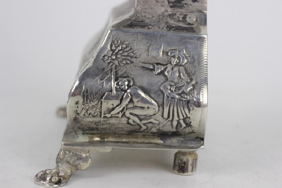 Continental Silver Miniature Grandfathers Clock - 9