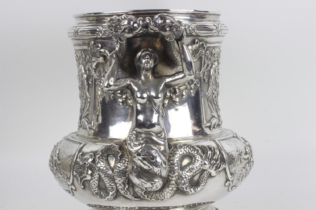 Unusual Sterling Silver Wine Cooler - 10