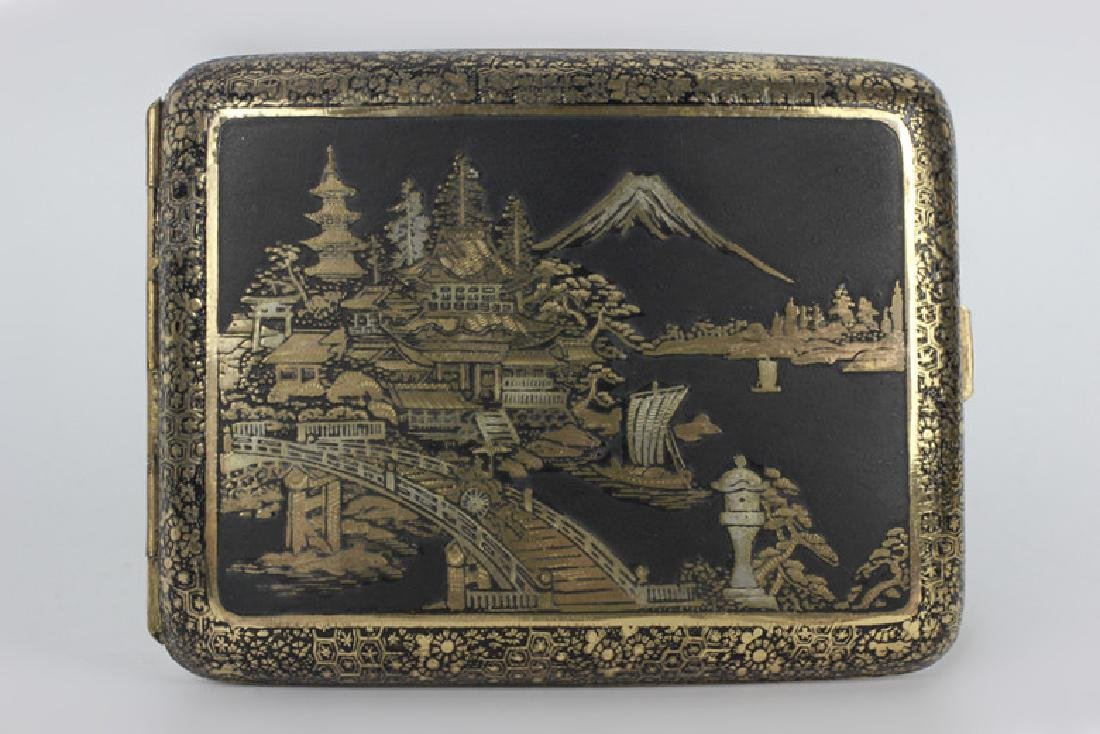 Japanese Mixed Metal Cigarette Box, Komei